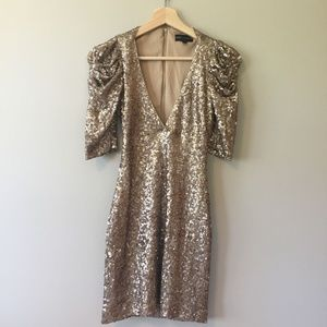 Badgley Mischka for Cache Gold Sequin Mini Dress